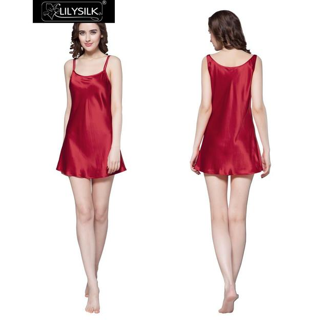Lilysilk Sleepwear 100% Pure Silk Nightgowns Sleepshirts PJS Women's Dresses Short Sexy 22 Momme Luxury Solid Pure Bride