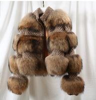 Brand Famous Amazing Luxury Women Natural raccoon Fur coats outerwear High fashion styllish Winter fur jackets