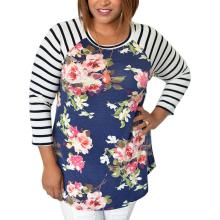 df7c35025f0 Plus Size Women s Floral Flower Stripped Printed Tee Shirt Casual Tops O-Neck  Striped 3