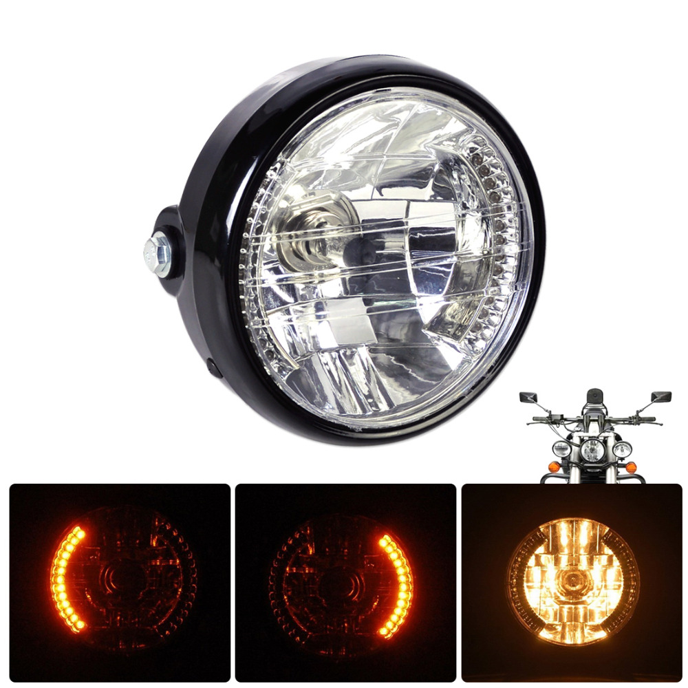 7 clear led headlight halogen turn signal indicators blinker fit for harley yamaha honda suzuki. Black Bedroom Furniture Sets. Home Design Ideas
