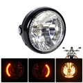 "7"" Clear LED Headlight Halogen Turn Signal Indicators Blinker fit for Harley Yamaha Honda Suzuki Bandit Kawasaki Motorcycle"