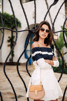 2017 Summer Celebrity Fashion Blogger Womens High Quality Casual Straight Collar Blue Stripe Strapless Lady Shirt