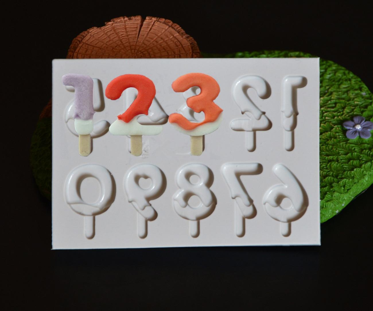 Nuevo Número de Silicona Piruleta Moldes Fondant Cake Decorating Herramientas de