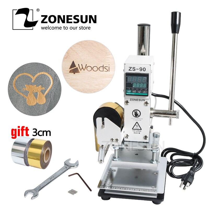 ZONESUN ZS-90 Dorure à Chaud Machine Manuel Bronzage embosseuse PVC Carte en cuir papier bois gaufrage estampage fer à marquer