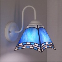 Mediterranean Blue Glass Led tiffanylampe wall lamps Surface Mounted Wall Sconce for home Decoration