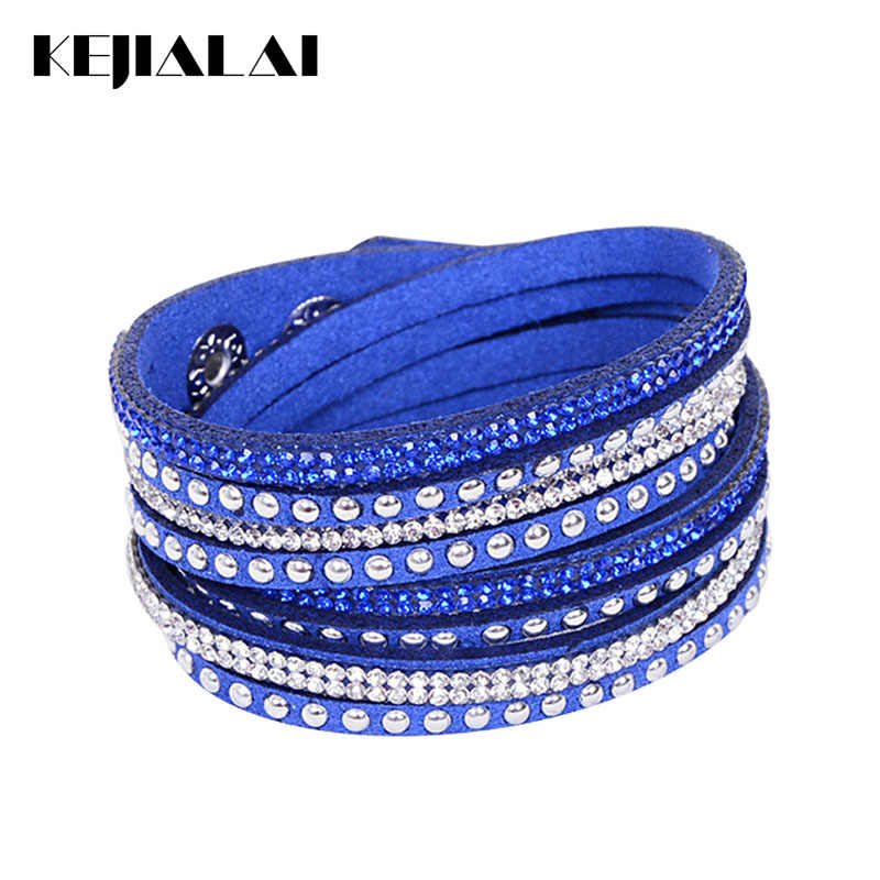 Kejialai Fashion Wrap Leather Bracelets for Women Men Adjustable Crystal Bracelet Rope Chain Charm Bracelets Jewelry Gift KJL003