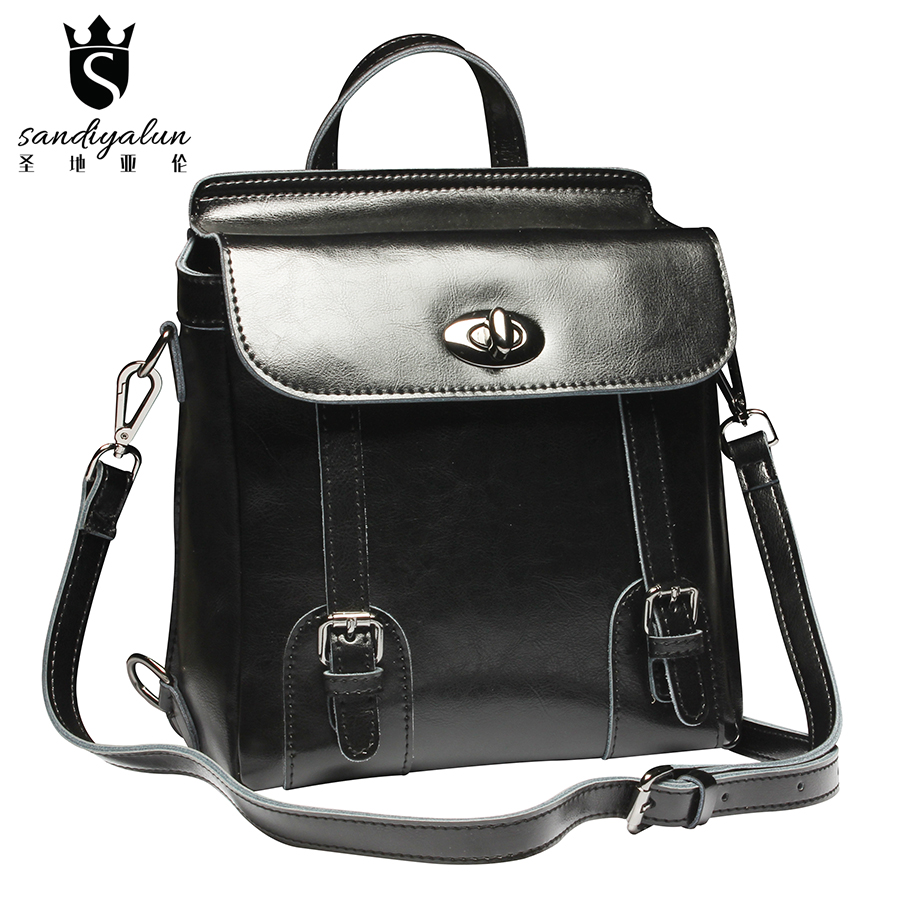 цены  Korean Style Genuine Leather Bag Women Backpack For Teenager Girls Brand Designer Retro Vintage School Backpack Bags Gift
