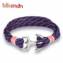 MKENDN New Arrival Fashion Jewelry navy style Sport Camping Parachute cord Anchor Bracelet Men Women Stainless Steel Bracelets цена