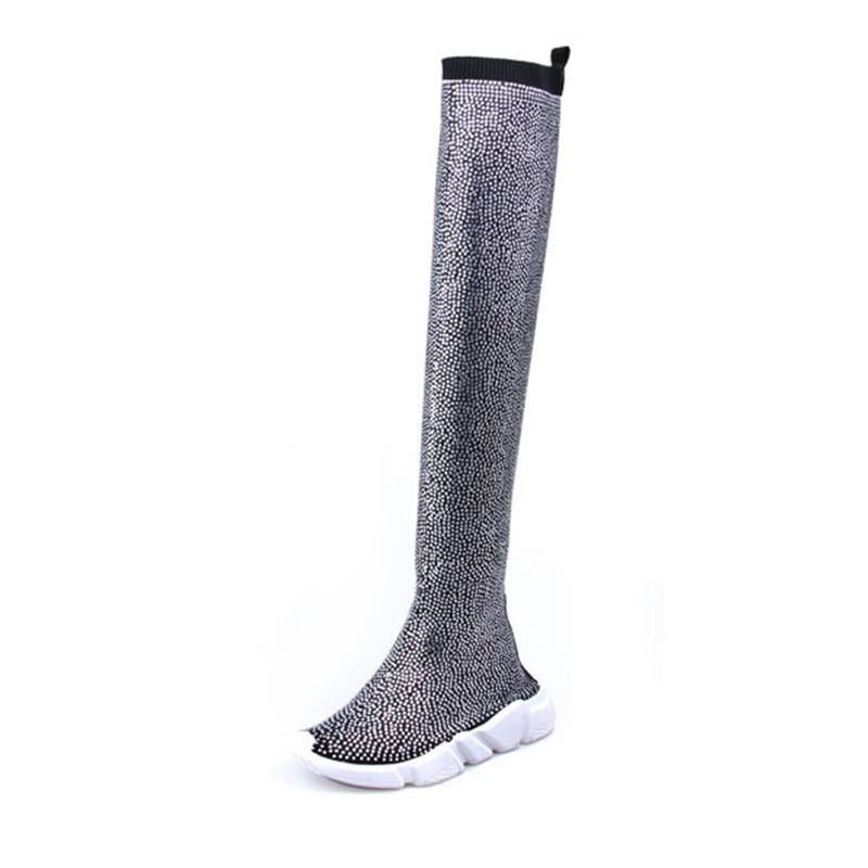 Mode femmes tricot chaussette bottes Sport plat à la main automne hiver strass Sneaker femmes Air marque cuisse haute femmes bottes