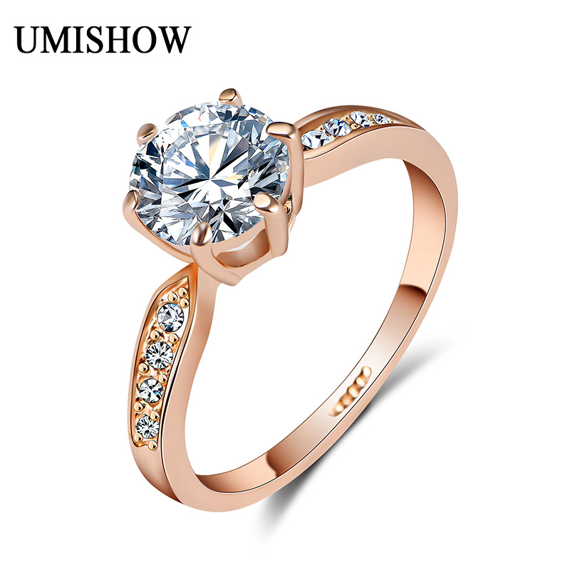 Brand Wedding Rings women 7.5mm zircon Jewelry Rose Gold color Engagement ring female Anel Bijoux top quality