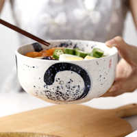 NIMITME rétro Style japonais Cuisine en céramique grand Ramen bol soupe nouilles bol ménage bol Restaurant dîner bol