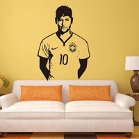 Neymar futebol júnior adesivos de parede esportes jogador de futebol decalque para meninos Room Decor Barcelona Poster Barca papel de parede
