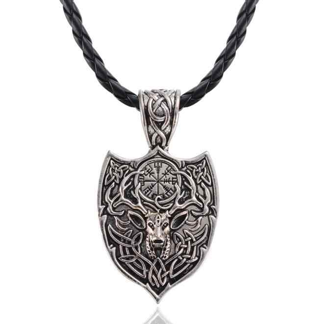 1pcs Antique Silver Large Double Deer Pendant Necklace Legendary With Rope Chain Aegishjalmur Viking Nordic Amulet Jewelry Gift