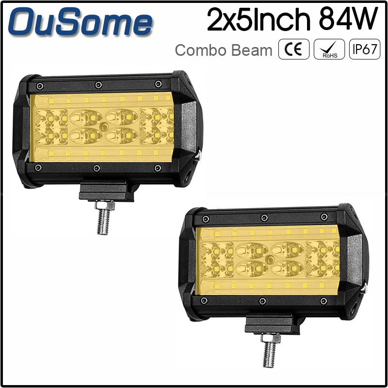 waterproof 2 pack 5inch 12v led work light 84W professional for JEEP TRUCK BOAT SUV ATV BOAT UTV work lamp