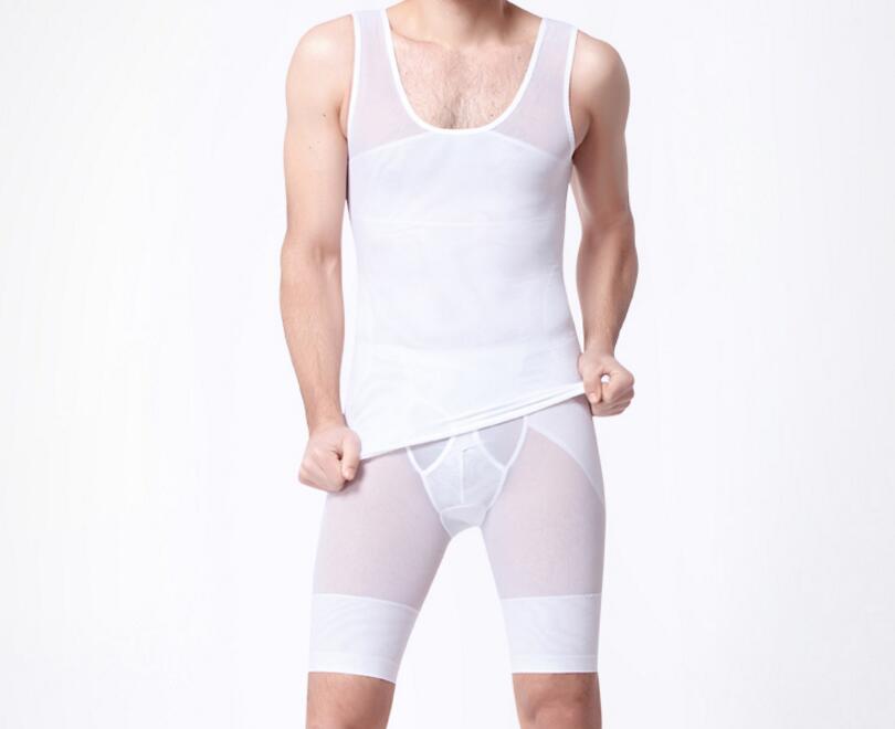 2 Teile/satz Männer Abnehmen Brust Bauch-trimmer Unterwäsche Kompression Ärmelloses T-shirt Shapewear Butt Heber Körper Shaper Höschen