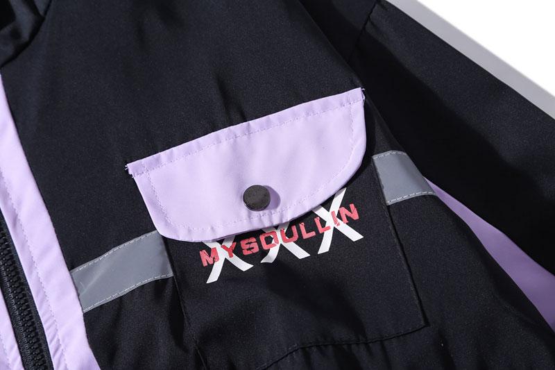 Side Pockets 3M Reflective Stripe Windbreaker Track Jackets 5