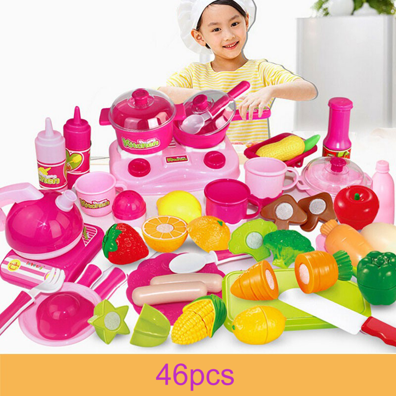46pcs Pink Pretend Play Kitchen Toys Baby Kitchen Cutting font b Knife b font Kettle Miniature