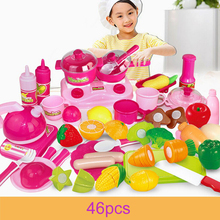 46pcs Pink Pretend Play Kitchen Toys Baby Kitchen Cutting Knife Kettle Miniature Food Fruit Vegetable Cooking Toys For Children