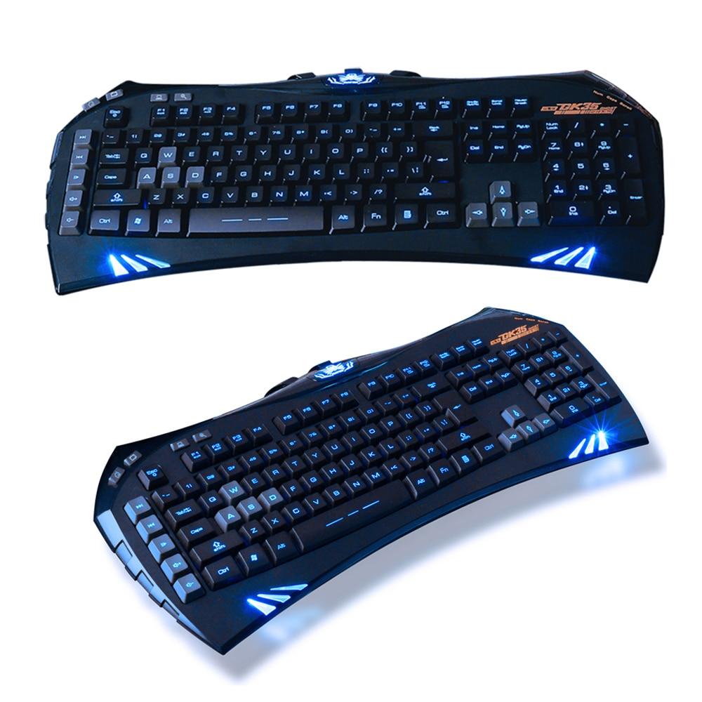 Sintop GK35 Wired Blue LED Backlit Keyboard illuminated Ergonomic Usb Gaming Keyboard Gamer Multimedia For PC