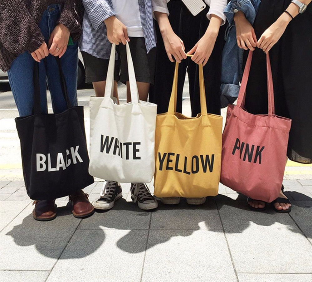 2019 High-Quality Women Men Handbags Canvas Tote Bags Reusable  Grocery High Capacity Shopping Bag Concise Letter Printing