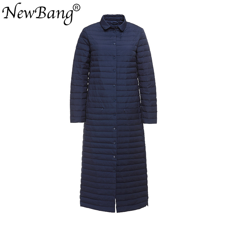 NewBang 90% White Duck Down Coat Women Fashion Slim Fit Thin X-Long Knee Single-breasted Jackets Slim Trench Coat