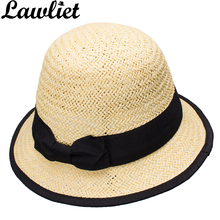 6ea9af5619f20 Lawliet Women Sun Hats Paper Straw Boater Hat Cloche Bucket Sun Cap Black  Grosgrain Ribbon Bow