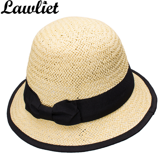 Lawliet Women Sun Hats Paper Straw Boater Hat Cloche Bucket Sun Cap Black  Grosgrain Ribbon Bow Spring Summer Kentucky Derby Hats e5d7f84aa3b3
