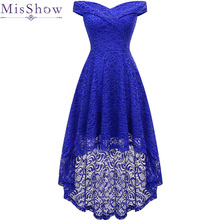 Asymmetrical Robe De Soiree 2019 Lace Short Evening Dress pl