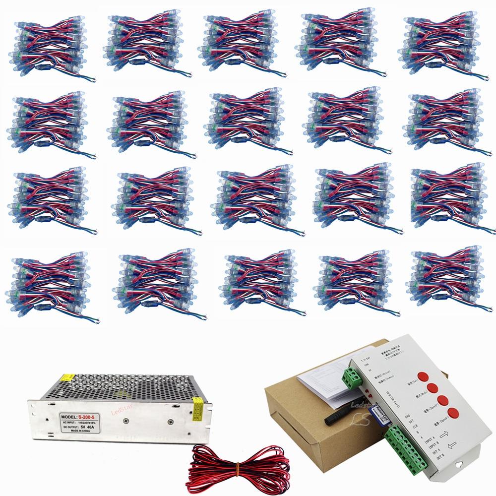 1000 pcs WS2811 led Pixel Module 12mm IP68 RVB diffuse adressable pour lettre signe DC 5 V + T1000S Contrôleur + Puissance adaptateur