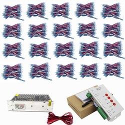 1000 stücke WS2811 Led-pixel-modul 12mm IP68 RGB diffused address für brief zeichen DC 5 V + T1000S Controller + Power adapter