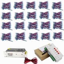 1000 stks WS2811 led Pixel Module 12mm IP68 RGB diffuus adresseerbare voor brief teken DC 5 V + T1000S Controller + Power adapter
