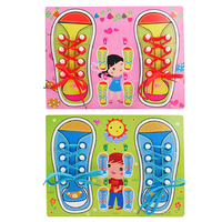 Cute Learn Tie Shoe Lace Toy Teaching Toy Wooden Puzzles Board Lacing Shoelace Kids Early Education