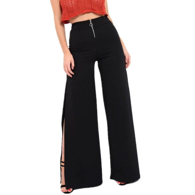 a791babda8aee 2 Colors Women Belted Palazzo Pants High Waist Zipper Loose Long Trousers  2018 Fall Wide Leg