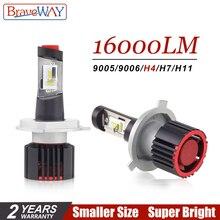 BraveWay CSP чип турбо Светодиодный лампочки для автомобилей H8 H11 светодиодный H4 16000LM 100 W HB4 HB3 H7 лампы 12 V H4 светодиодный фар H7 светодиодный Canbus