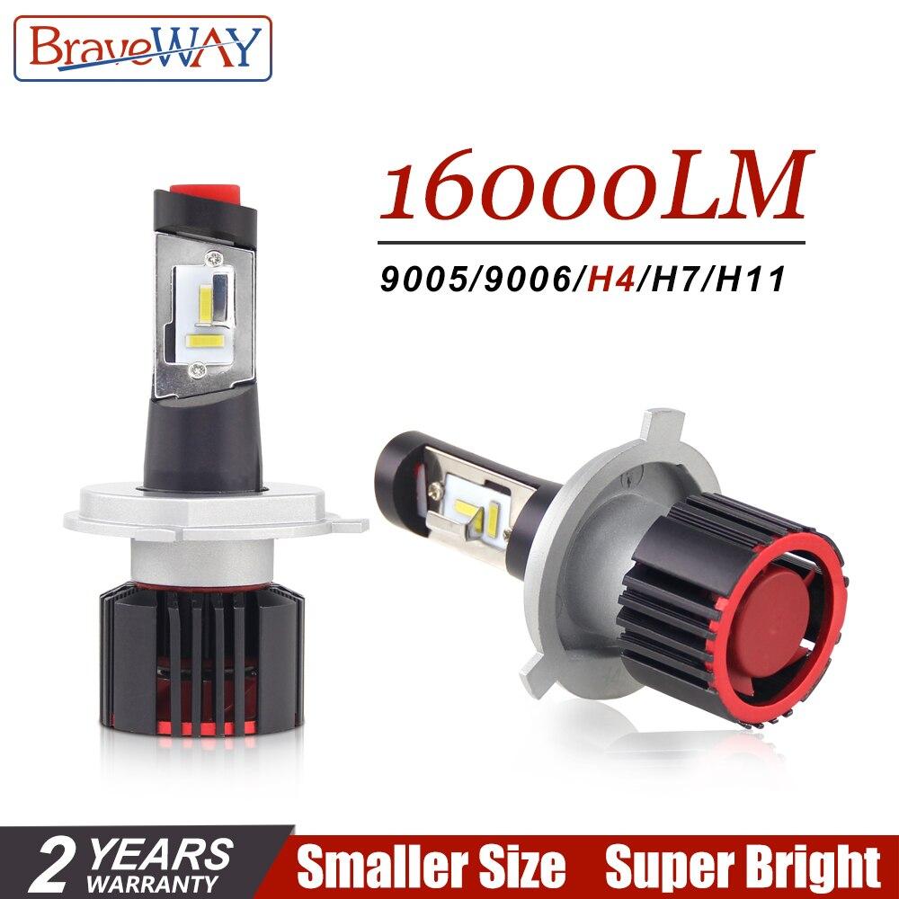 BraveWay CSP Chip Turbo bombillas de luz LED para coches H8 H11 LED H4 16000LM 100 W HB4 HB3 H7 lámparas 12 V H4 LED faro H7 LED Canbus