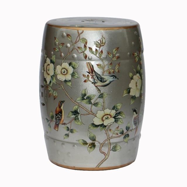 Cerámica pintura plata platino heces tambor para la decoración ...