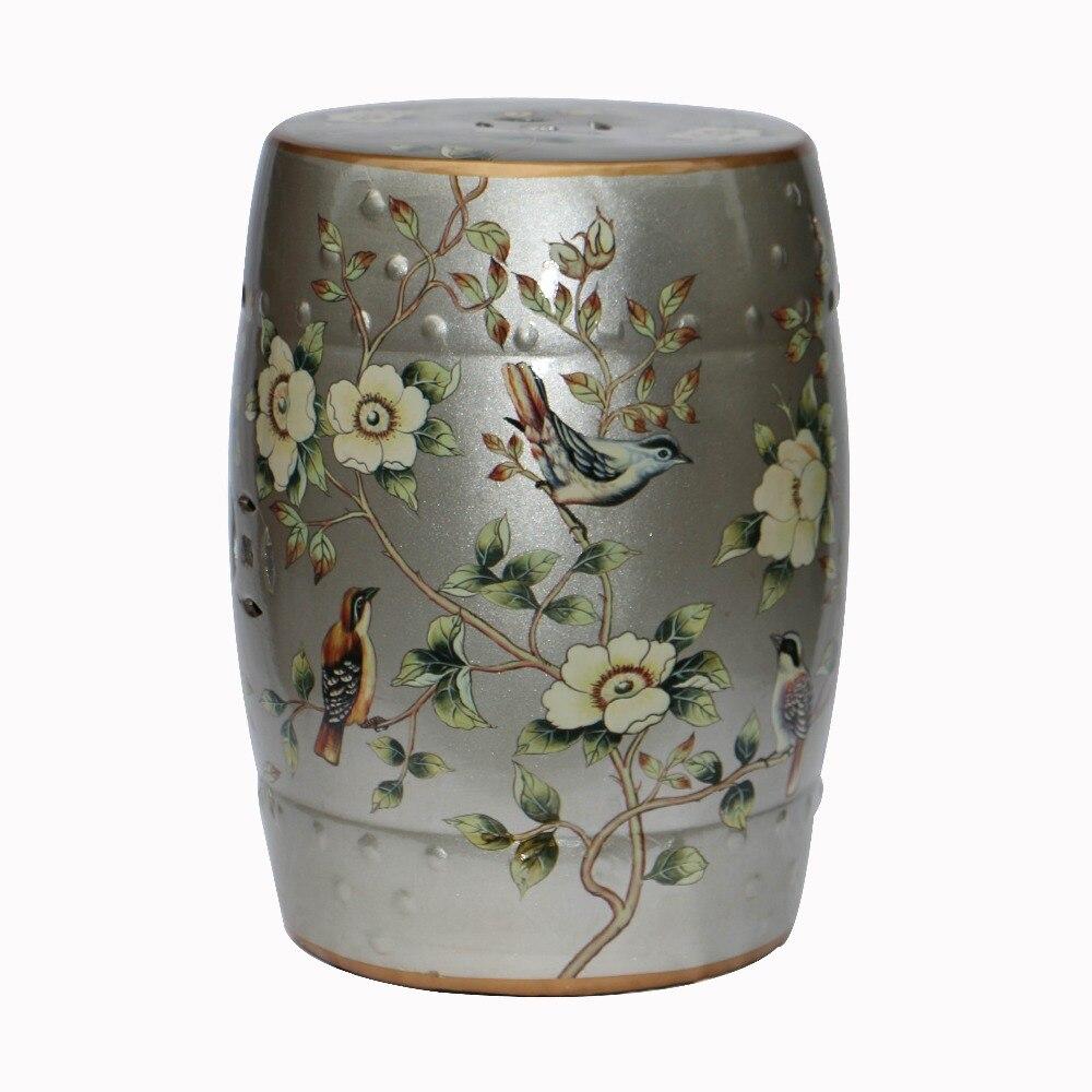 Painting ceramic silver platinum drum stool for home indoor decoration цена и фото
