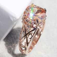 Popular rose gold ring for new flowers with diamond lovers engagement fashionable ladies