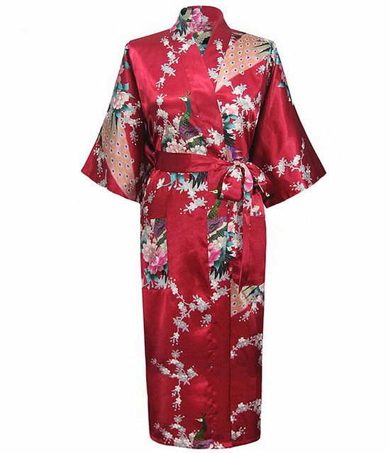 New Arrival Burgundy Women Rayon Kimono Yukata Gown Bridesmaid Wedding Robe  Nightgown Sleepwear Flower S M L XL a982888c6