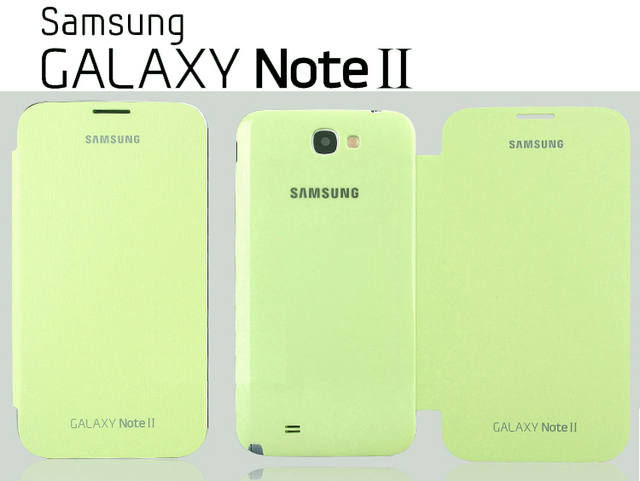OEM Samsung Galaxy Note 2 N7100 Flip Cover Case + Screen Protectro : Light green