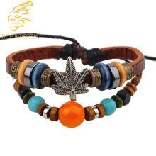 Кожаный браслет с кленовыми листьями для мужчин и женщин