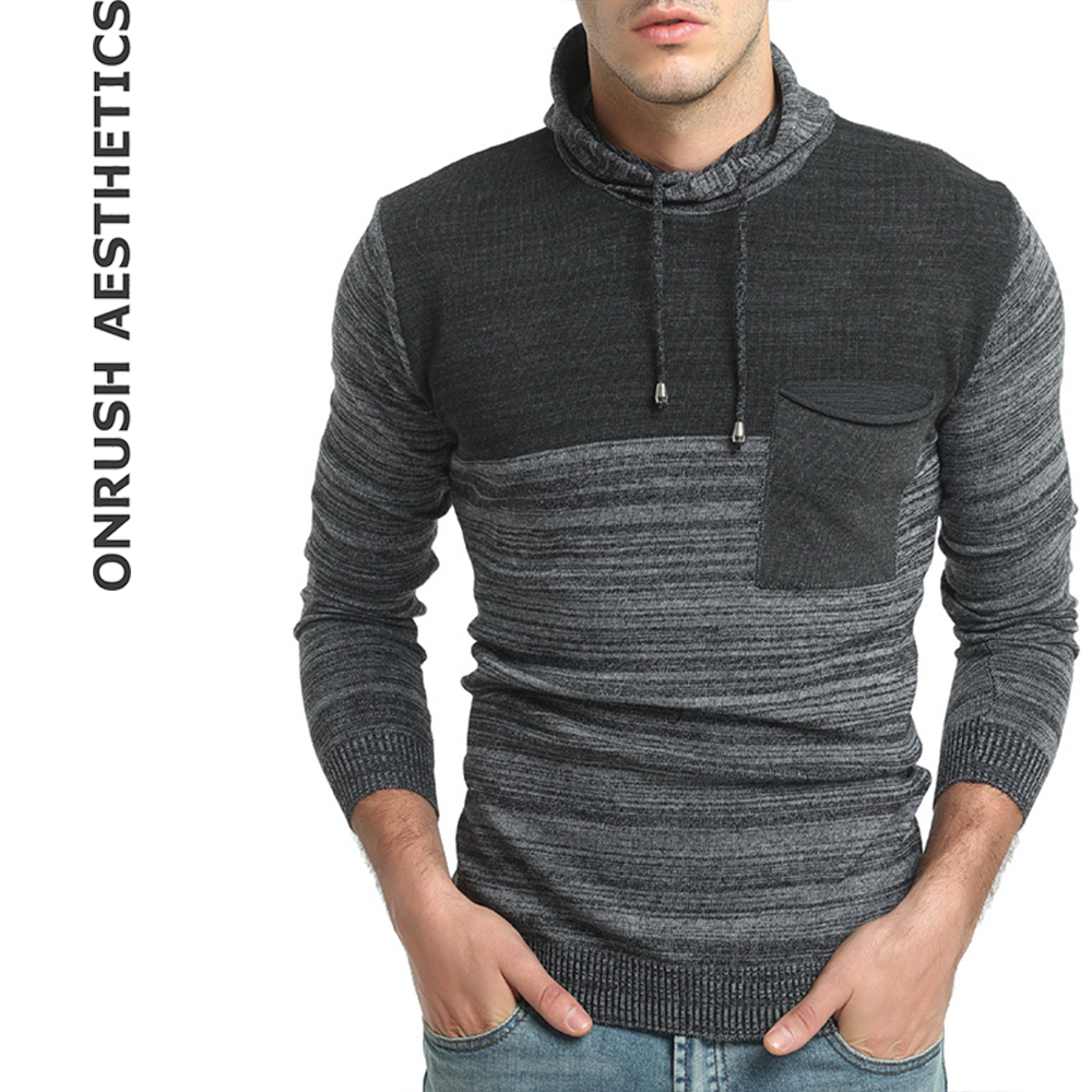 OA Men's New Fashion Patchwork Hooded Casual Long Sleeve Sweaters Slim Fit Thicken Knitted Pullover For Male