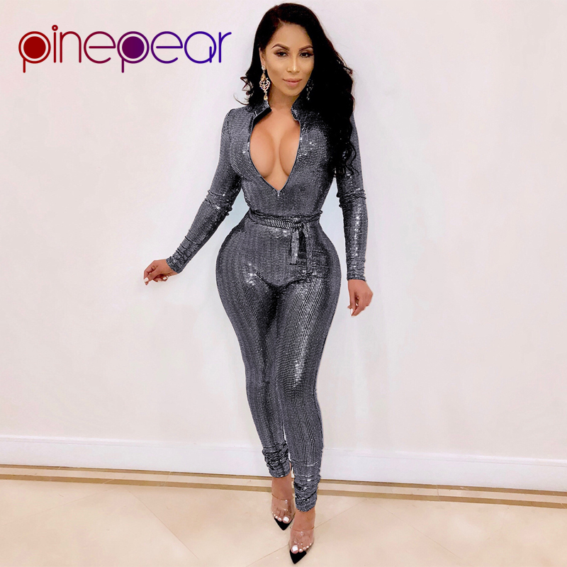 ef664f2dac3d PinePear Sparkly Silver Sequin Romper Birthday Outfits for Women Long  Sleeve Deep V Neck Sexy Clubwear. US  21.59. 2 orders. PinePear 2019 Winter  Womens ...