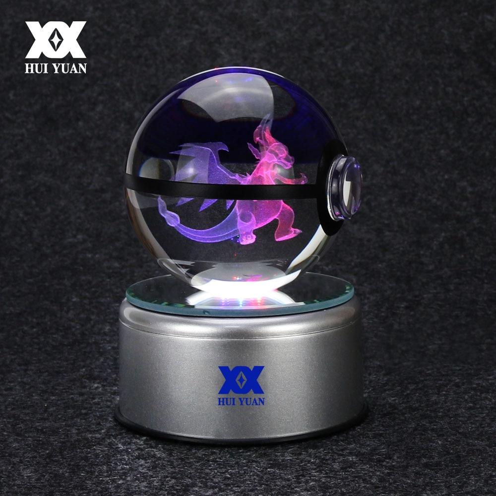 Mega Charizard X 3D kristāla bumba Pokemon stikla lodītes LED - Nakts gaismas - Foto 1