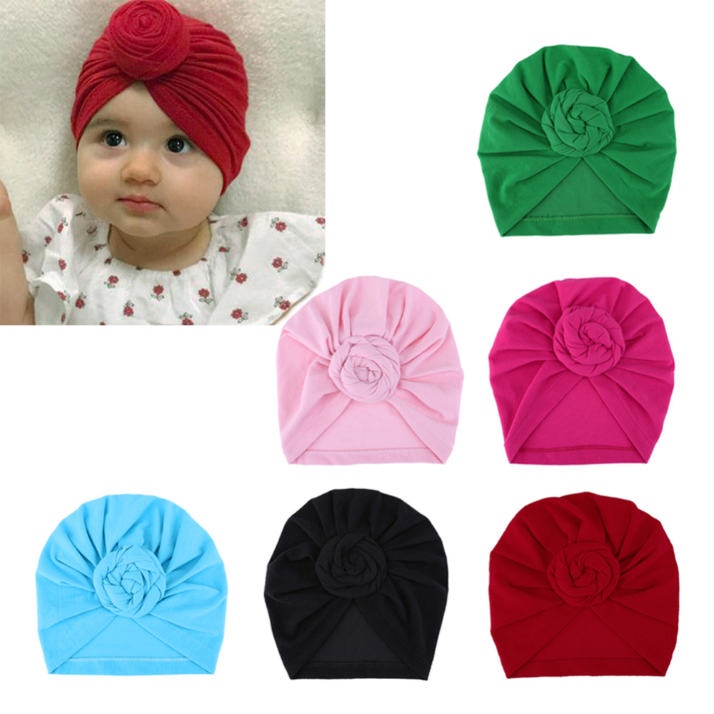Newborn Baby Hats for Kids Children Turbans Lovely Cotton Headwear Winter Wrinkle Hat Beanies Caps Baby Photo Props