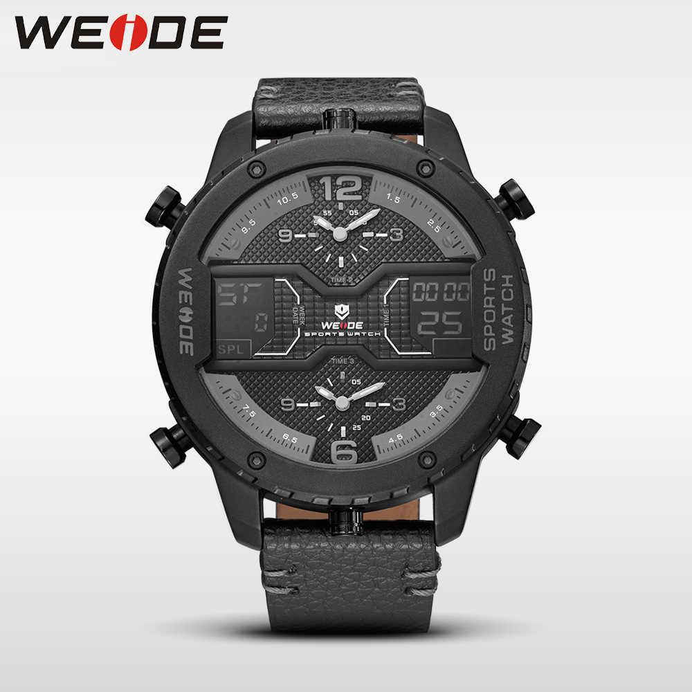 WEIDE 6401 Multiple Time Zone Big dial watch quartz men leather sports watches analog automatico relogios waterproof alarm clock prorab 6401 нк