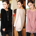 2016 Spring and Autumn Winter New Korean Lace Mohair Sweater Long Paragraph Low Round Neck Loose Knit Sweater