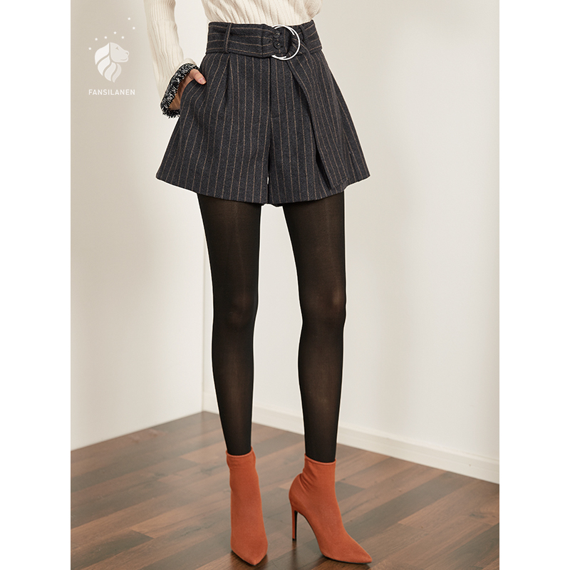 FANSILANEN New Arrival Fashion Spring/Autumn/Winter Casual Women   Shorts   Wide Leg Flare Loose Elastic Waist Z72133