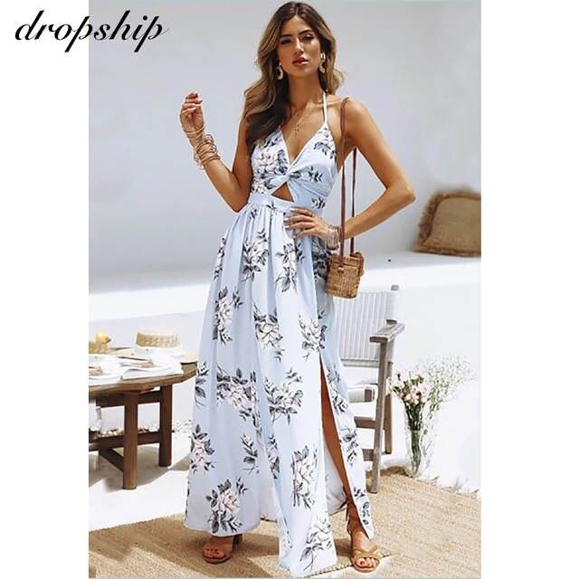 comprar real Tienda online online aquí Dropship Dress Women Sexy Dresses Long Maxi Summer White Black Beach Boho  Floral Vestidos Verano 2019 Sling V-neck Chiffon Split