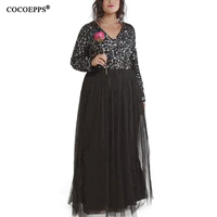 5xl 6XL Elegant Sequin Gauze Dress Mesh Maxi Evening Party Dress Sexy 2017 Autumn Winter Plus